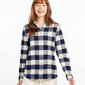 NWOT LL BEAN Organic Flannel Cotton Shirt, Large